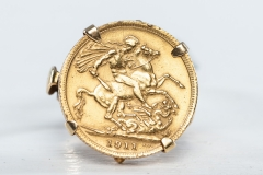 22ct gold full sovereign 1911 set in 9ct ring
