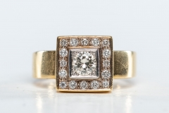 Hand made 18ct gold and diamond ring